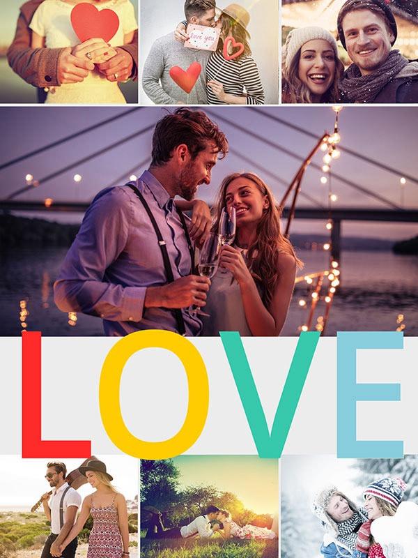 Fotopuslespilcollage temaer layout med 7 billeder