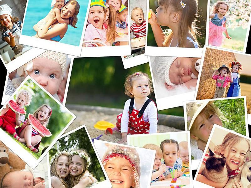 Fotopuslespilcollage overlappende layout med 17 billeder