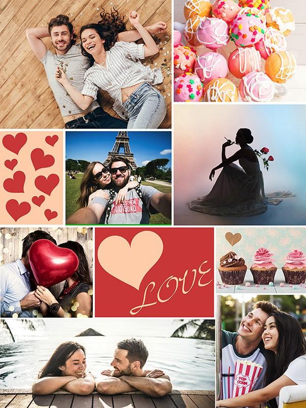 Fotopuslespilcollage temaer layout med 8 billeder