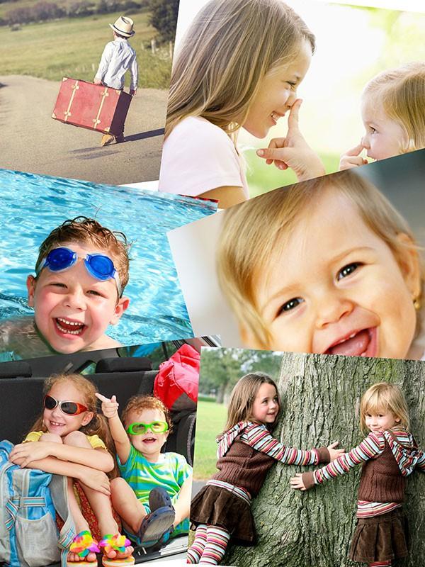 Fotopuslespilcollage overlappende layout med 6 billeder