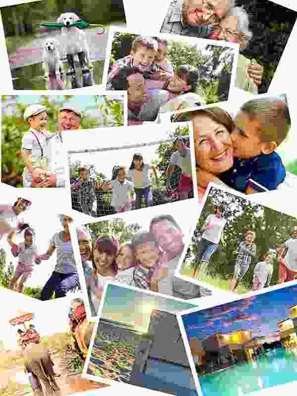 Fotopuslespilcollage overlappende layout med 12 billeder