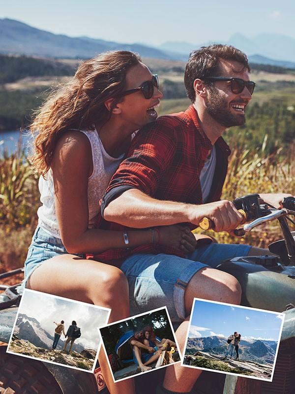 Fotopuslespilcollage eget foto som baggrund layout med 4 billeder