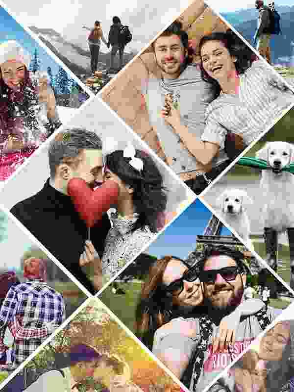 Fotopuslespilcollage kunstnerisk layout med 11 billeder