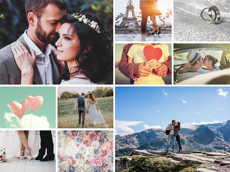 Fotopuslespilcollage enkelt layout med 10 billeder