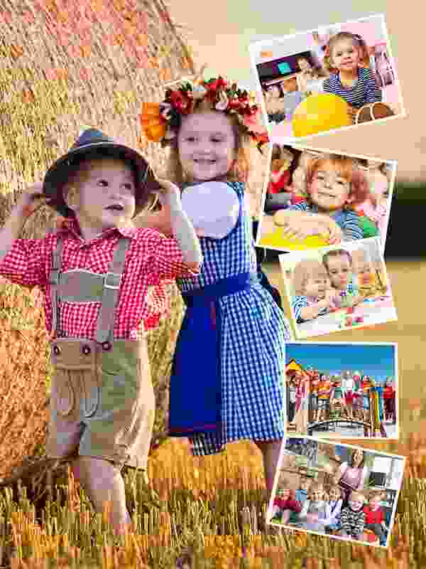 Fotopuslespilcollage eget foto som baggrund layout med 6 billeder