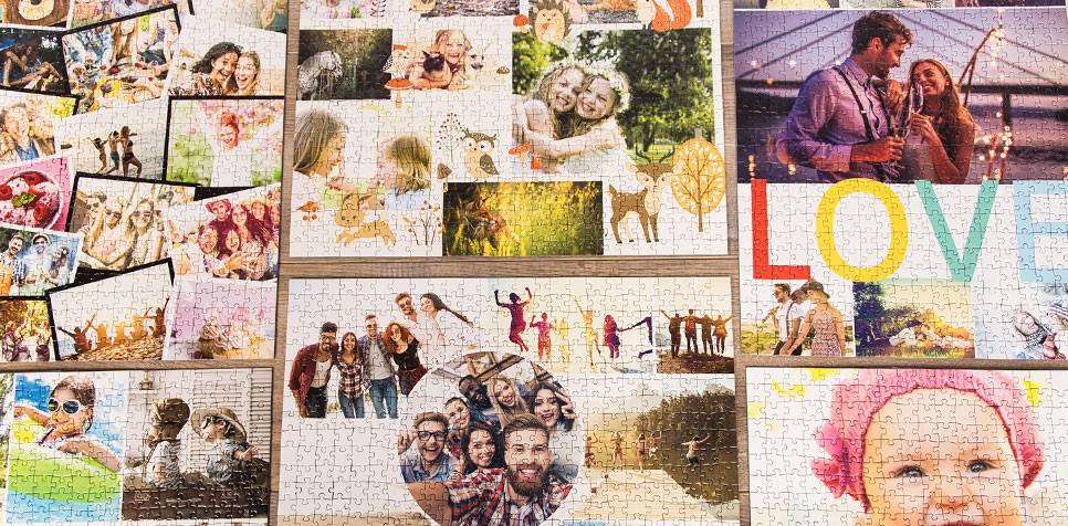 Teaser: Fotopuslespilcollage Layout-oversigt