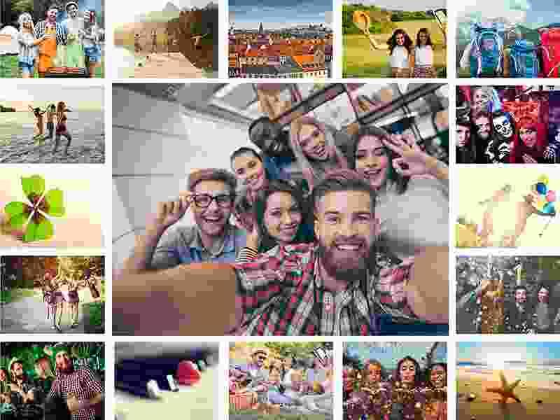Fotopuslespilcollage enkelt layout med 17 billeder