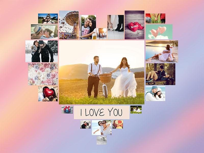 Fotopuslespilcollage temaer layout med 22 billeder