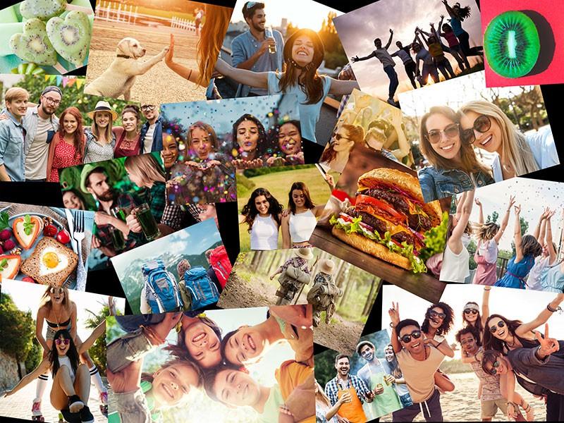 Fotopuslespilcollage overlappende layout med 20 billeder