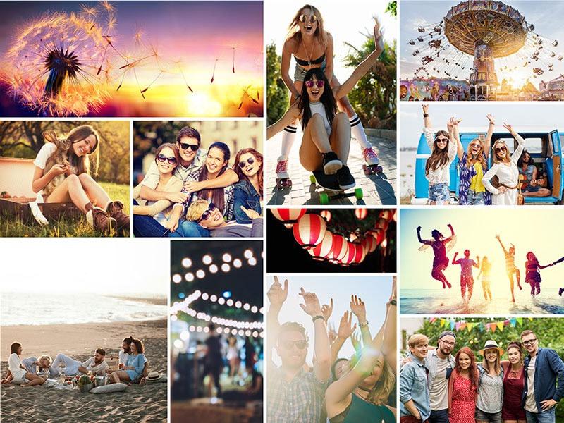 Fotopuslespilcollage enkelt layout med 12 billeder
