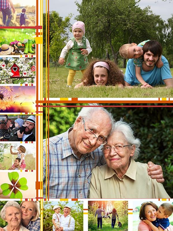 Fotopuslespilcollage illustrationer layout med 13 billeder