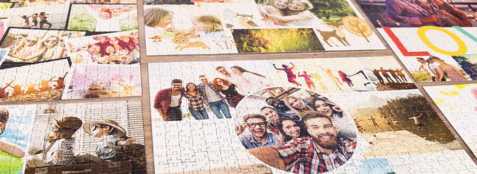 Fotopuslespilcollage layout oversigt