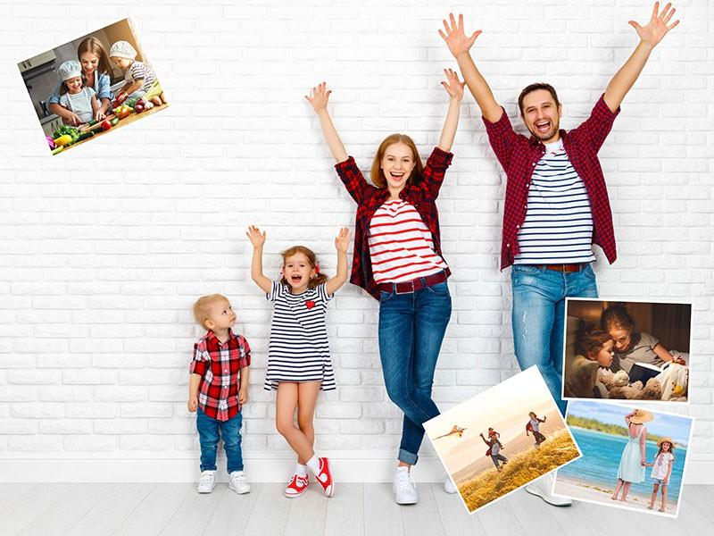 Fotopuslespilcollage eget foto som baggrund layout med 5 billeder