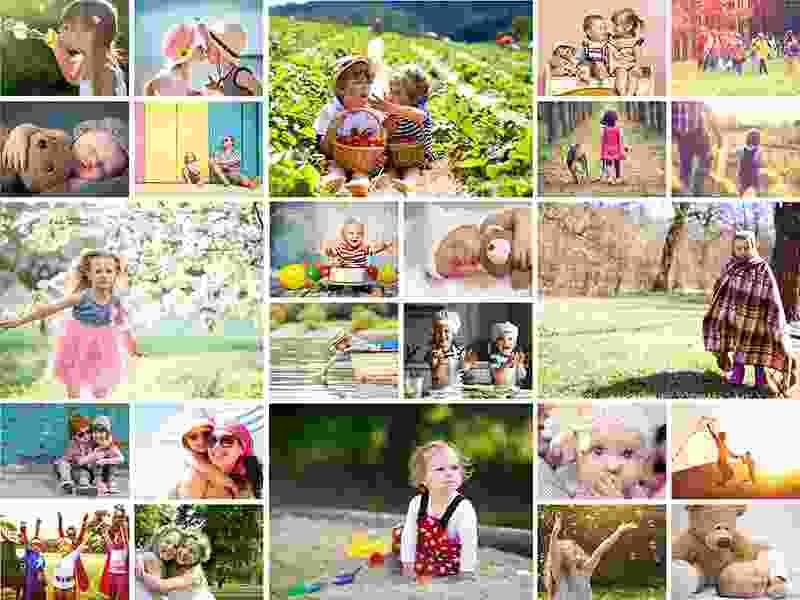 Fotopuslespilcollage enkelt layout med 24 billeder